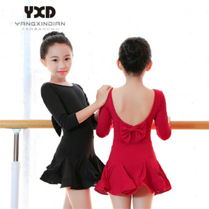 High Quality Girls Latin Tango Ballroom Salsa Dance Dresses Kids Dancing Practice Wear Children Outfits Costume Perform Dress
