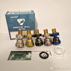 Os mais recentes MANTA MTL RTA Clone substituível Tanque Atomizers Single Coil vaporizador 2 ml / 3 ml com 510 Drip Tip Fit MODS 1
