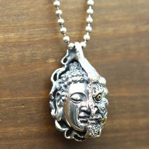 Sterling silver 925 personality carved couples wild Buddha magic a necklace necklace pendant retro Thai silver good and evil pendant KKA4776