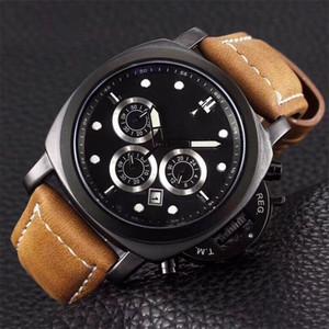 Schweizer Uhr Leder braun Luxus Herrenuhr Modedesigner Armbanduhr Militär berühmte Marke Armbanduhr montres pour hommes Alle Zifferblätter funktionieren