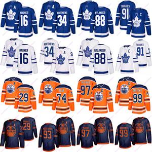토론토 단풍잎 저지 타바레스 91 16 34 Marner 매튜 에드먼턴 오일러 유니폼 97 McDavid와 그레츠키 99 74 29 개 베어 Draisaitl 하키 유니폼