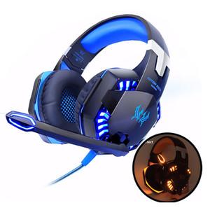 HER G2000 Gaming Kulaklık Bilgisayar Stereo PC için mikrofon LED Işık ile Aşırı Kulak Derin Bas Oyun Kulaklık Kulaklık Kafa Kulaklık LOL Gamer