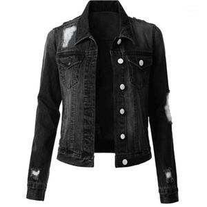 Zerrissene Frauen Denim-Jacken beiläufige Frauen Kleidung Solid Color Womens Designer Denim Jacken Mode dünne Weinlese