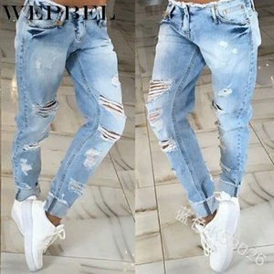 WEPBEL Mulheres estiramento afligido rasgado azuis Skinny jeans Pants Pés Algodão Buraco Pencil Jeans Plus Size