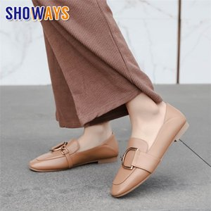 Spring British Women Loafers Beige Black Soft PU Leather Round Toe Flats Female Casual Office Slip-on Chain Driving Moccasins CJ191220