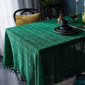 Hecho a mano mantel de punto hueco decorativo mesa redonda cubierta minimalista Mantel Para Mesa de comedor cubierta