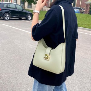 Leather Women Simple Solid Color Shoulder Bag Classic Texture Delicate Creative Design Elegant Ladies Tote Shopping Pouch