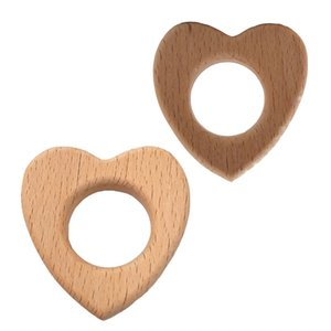 200pcs Hêtre forme en bois Amour Teether Pendentif en bois Jouets Teething de qualité alimentaire Matériaux Chew organique Cadeau Bébé Tétines Accessoires