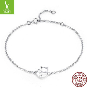 Wholesale-100% 925 Sterling Silver Cat And Heart Link Chain Bracelets & Bangles for Women Authentic Silver Jewelry Gift SCB102