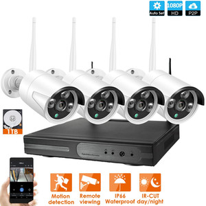 نظام الكاميرا الجملة 4CH 1080P نظام CCTV NVR اللاسلكية 4PCS 2.0MP IR في الهواء الطلق P2P واي فاي IP CCTV مراقبة الأمن كيت