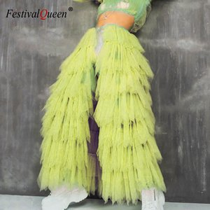 Mesh Transparent Neon Bubble Skirts Buckle Pleated See Through Patchwork Sexy Women Club Rave Festival Long Skirt 4 Colors 2019 CX200703