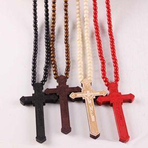 New Madeira Cruz Colares do Christian religiosa madeira crucifixo encanto frisado correntes para as mulheres jóias de moda masculina