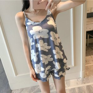 Summer Print Pajama Sets for Women Cotton Sleepwear Girls Sleeveless Sexy Lingerie Two Piece Set with Chest pad