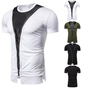 Verão Masculino Designer T-shirt cor sólida Impresso Zipper Projeto Painéis Crew Neck Tops Casual Mens Clothes