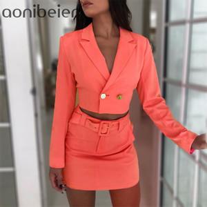 Aonibeier Moda Neon Mini saia Suits Mulheres Two Piece Set Long Sleeve curto ternos cintura Saias alta Outfits Lady Escritório