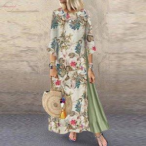 Женщины Осень Платье Плюс Размер Новая Мода Старинные Печати Цветочные Патч Платье 3 4 Рукава O Шеи Свободные Макси Летнее Платье 2020