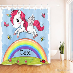 Rainbow Unicorn Polyester Fiber Window Curtains Digital Printing Waterproof Cloth Bathroom Sets Shower Curtain Mildew Proof Hot Sale 29szb1