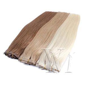 120g Sarışın Doğal Renk Brown Düz Kütikül Bağlantısızlar Remy Virgin İnsan Saç Uzantıları yılında VMAE Avrupa PU atkıları kesintisiz Klip