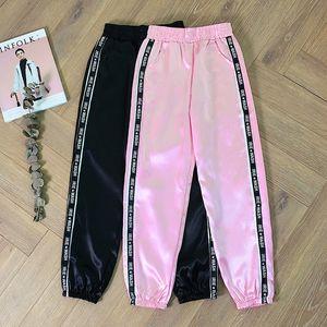 SFIT Big bolso cetim Destaque Harem Pants Mulheres fita Esporte Glossy calças esportivas Calças BF Harajuku Basculadores das mulheres