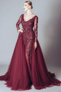 Elie Saab Burgundy Formal Celebrity Evening Dresses V Neck Long Sleeves Lace Applqiues Open Back Detachable Train Prom Party Occasion Gowns