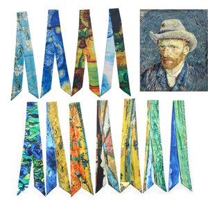 Collo Sciarpe pittore Van Gogh Picasso Monet Pittura Donne piccole Sciarpa di seta del nastro del fazzoletto da collo cinturino del sacchetto di mano di maniglia Sciarpe Wraps