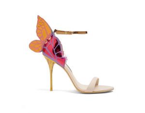 Горячая распродажа-женская лакированная кожа твердые украшения бабочки Sophia Webster сандалии обувь yellowsize 34-42