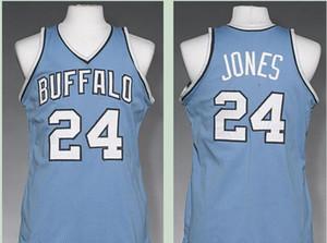 Benutzerdefinierte Männer Jugend Frauen Vintage Vintage Männer Buffalo # 24 Wil Jones 1977-1978 Basketball-Jersey-Größe S-4XL oder benutzerdefinierten beliebigen Namen oder Nummer Jersey