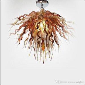Новые Hot Sale Art Deco Lighting Удивительные декоративные Чихули свет Современные Сгорел Настроенный цвет стекла Люстра на продажу