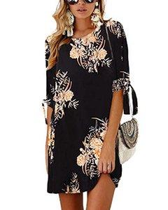 YOINS Женские мини-платья Летняя футболка Твердые туники с круглым вырезом с завязками и рукавами Блузка Платья