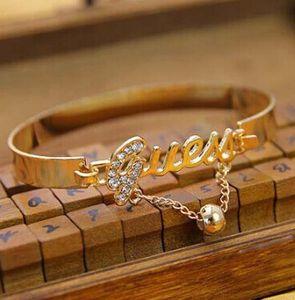 New Fashion Bracelet Women Ladies Charm Letter Crystal Rhinestone Bracelet Bangle Chain Party Supplies Gold Silver 12pcs lot