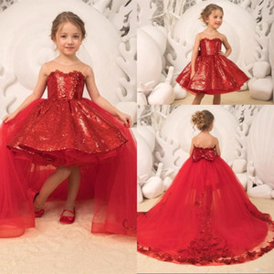 Sparkle Red Sequin Little Girls Pageant Dresses Removable Tulle Train Ball Gown High Low Kids Christmas Birthday Party Gowns with Bow