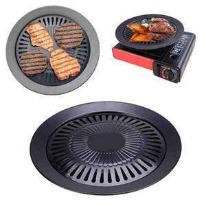 European Outdoor Smokeless Barbecue Grill Pan gaz Ménage gaz antiadhésifs Poêle plaque BBQ Barbecue outil T200110