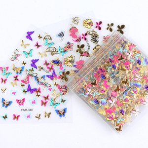 Stickers & Decals 30pcs Gold Silver 3D Art Sticker Hollow Decals Mixed Designs Adhesive Flower Nail Tips Letter Butterfly paper