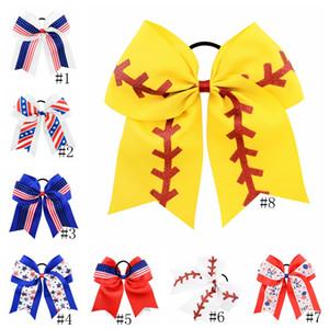 Los niños de las horquillas de béisbol EE.UU. América del pelo clip de bandera de los clips de los bebés Barrettes del arco del pelo Estrellas elástico Hairbands Nacional del pelo Día GGA2682