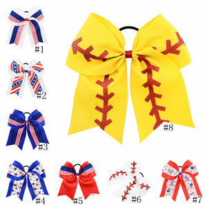 Kids Baseball Hairpins USA America Flag Hair Clip Baby Girls Hair Bow Barrettes Stars Elastic Hairbands National Day Hair Clips GGA2682