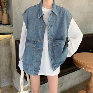 2020 New New Loose Denim Vest Oversize Big Pocket Sleeveless Jean Coat Turn-down Collar Single Breasted Female Waistcoat Outwear