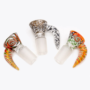 Heady Colored 14mm 18mm Male Bowl Wig Wag Glass Tazones con asa de color Fumar Bong Tazones para vidrio Pipas de agua Bongs Dab