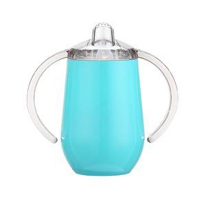 SIPPY CUP 10OZ Botella de agua para niños Botella de agua de acero inoxidable con mango Aspirado Aislado a prueba de fugas Taza de viaje Botella de bebé Envío de mar