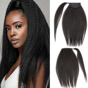 Kinky Straight человеческих волос хвостик Natural Black One Piece Wrip Around Ponytail для чернокожих женщин Девы бразильского наращивания волос
