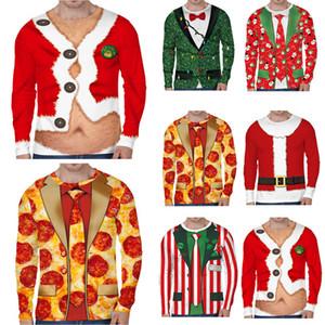 Рождество 3D печати рубашка Мужчины осень с длинным рукавом Осень Зима Кардиган Tie Printed Мужские Поддельные Две пьесы Смешные Одежда