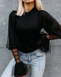 Lace Sleeve Sweater Knit Tops Pullover Women O Neck Polka Dots Sweaters Black White Color Knitwear