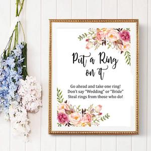 Boho legte einen Ring darauf Bridal Shower Game Poster Leinwanddrucke Aquarell Pink Floral Sagen Sie nicht, Spiel Kunst Malerei Hochzeitsdekor