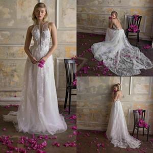 Limor Rosen 2020 New A Line Wedding Dresses Lace 3D Floral Applique Backless Sweep Train Bridal Gowns Plus Size Beach robe de mariée