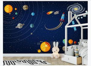 Costumbre moderna universo espacio pintado a mano de la decoración interior telón de fondo de pantalla 3d estrellas de papel mural de la pared de fondo habitación de los niños