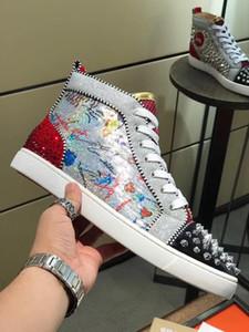 Yeni Parlak Graffiti Kırmızı Taban Ayakkabı Louisflat Hakiki Deri Rhinestoness Kırmızı Alt Sneaker Yüksek Üst Genç Erkekler Orlato erkek Eğitmenler