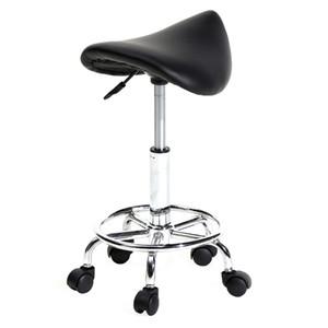 Tabouret de selle Chaise roulante, Rotation réglable Tabouret hydraulique avec roues Salon de massage médical Cuisine Spa Bar Chaises Noir