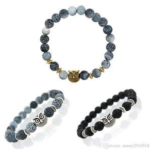 Wholesale 2017 New Owl Charm Natural Stone Beads Bracelet Bangle for Men Women Stretch Yoga Lava Stone Jewelry Fashion Accessories Xmas Gift
