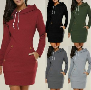 2019 New Arrive Hooded Sweatshirts Long For Women Autumn Winter Warm Top Overcoats Casual Dress Clothing With Pockets Longe B500607