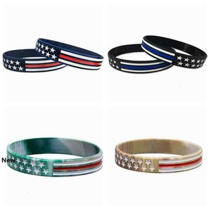 4 Styles US Wrist Band US Blue Red Line American Flag Silicone Bracelet Wrist Band Party Favor ZZA2159 100Pcs