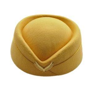 New Elegant Wool Felt Pillbox Air Hostesses Girls Beret Hat Base Cap Airline Stewardess Sexy Formal Uniform Hat Caps